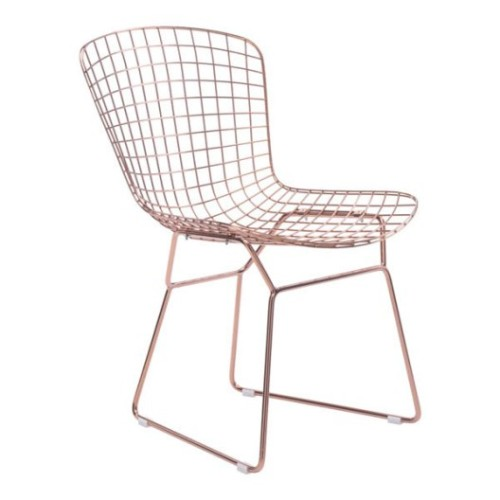 Wire Dining Chair | Set of 2 -  Rose Gold